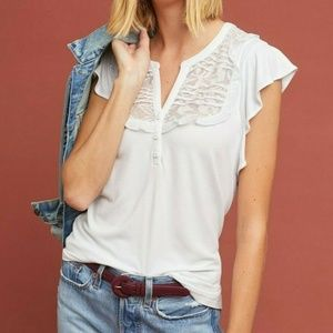 Anthropologie Gillham Flutter-Sleeve Top by Maeve